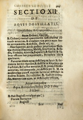 Printed page of section 12 on distilled waters.