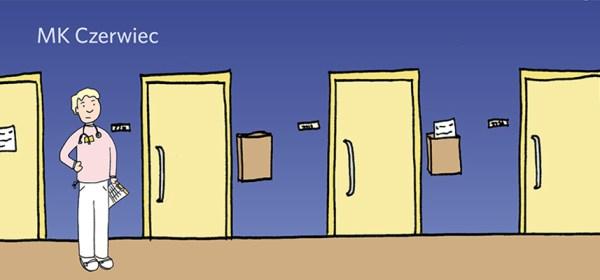 MK Czerwiec's comic avatar stands in a hospital hallway