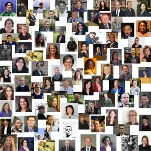 A collage of photographs of contributors to the blog.