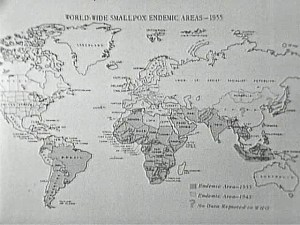 A world map receding areas of smallpox infection from 1933 to 1943.