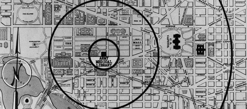 A street mat of Washinton DC showing the location of the Army Medical Library.