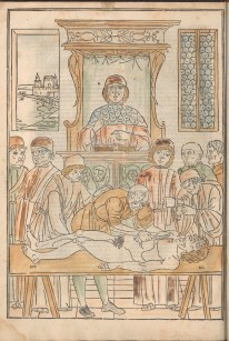 A man sits on a high lecturn with a book while another cuts a body on a table while others look on.