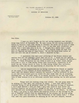 Page 1 of a typwritten letter on Tulane University School of Medicine Stationary.