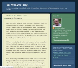 "Screenshot from Bill Williams' Blog, a December 2016 post titled ""Action is Eloquesnce."""