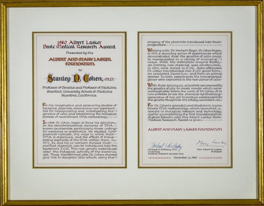 A framed two page certificate.