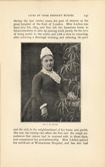 A photograph of Eva C. E. Lückes, in a nurses uniform standing by a potted plant.