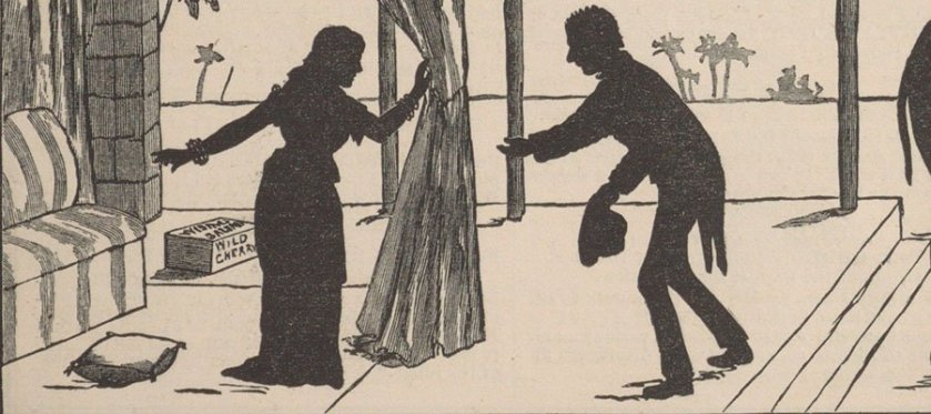 An illustratration of a man bowing to a woman under a canopy in the desert in silhouette.