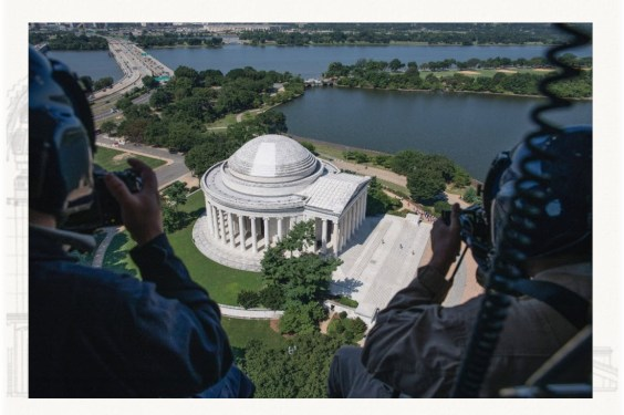 An aerial view of the Jefferson Memorial showing a cleaned section of the dome.