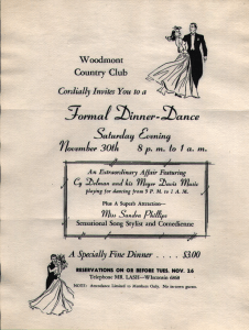Flier with information about the dance and sketches of two couples with the gentlemen in suits and the women in long dresses