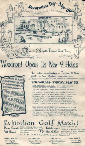 Flier advertising the golf course with an image of the country club and golfers