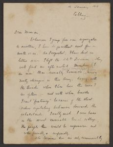 A handwritten letter dated 16 January 1919