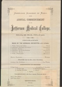 Formal program document for the Jefferson Medical Collage Commencement ceremony, with other documents attached to the back.