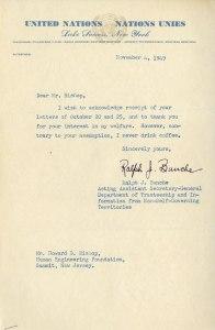 Typewritten letter on United Nations letterhead.