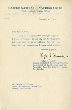 Typewritten letter on United Nations letterhead.