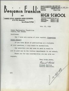 Typewritten letter from Benjamin Franklin High School requesting materials.