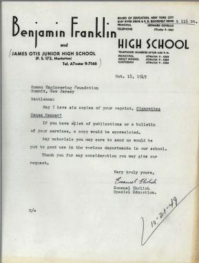Typewritten letter from Benjamin Franklin High School requesting materials.