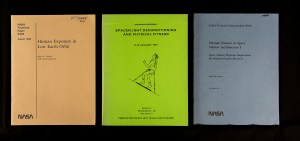 Three pamphlets on Human Exposure in Low Earth Orbit, Spaceflight Deconditioning, and Human Factors in Space Station Architecture.
