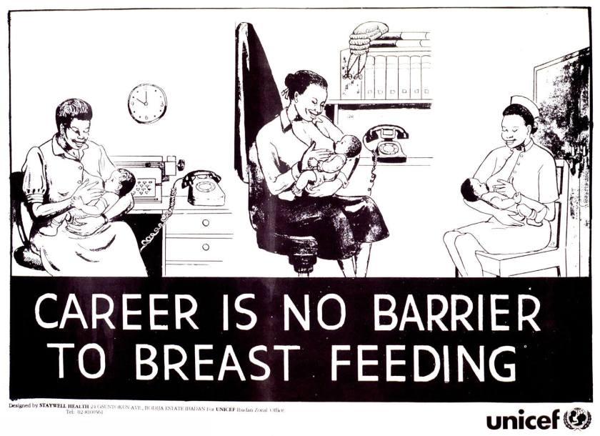 A series of three illustrations of women in work settings breastfeeding their babies.