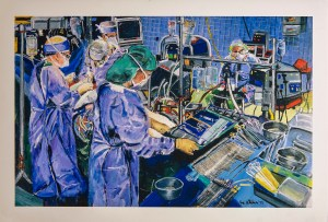 A busy and colorful scene of five surgeons around an operating table attending to a patient.