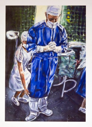 A painting of a surgeon dressed for operating standing with hands clasped and bowed head.