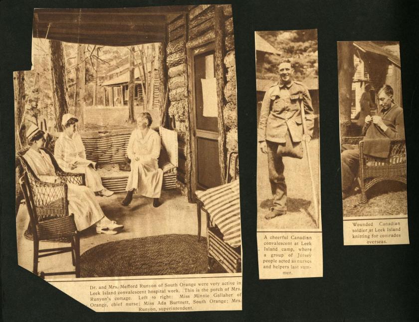 Scrapbook page of three newspaper cutouts from Leek Island