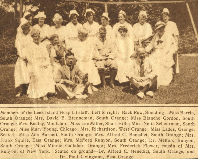 Newspaper photo of Leek Island Hospital staff.