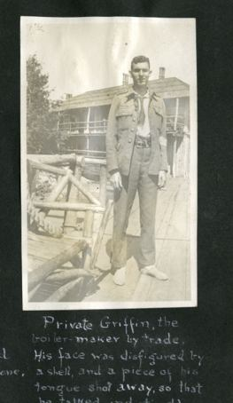 Scrapbook photo of a soldier posing.