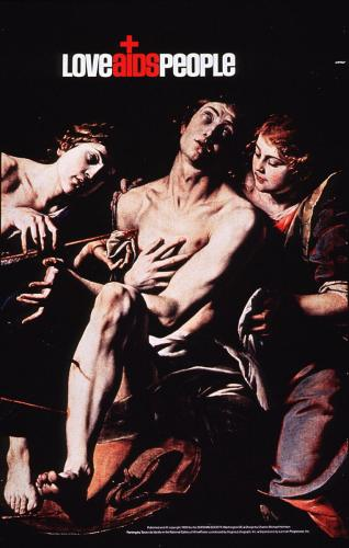 The image shows two women ministering to a man wounded by arrows.