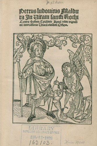 Title page with a woodcut of an angel tending Roch's sores, while a dog brings him bread.