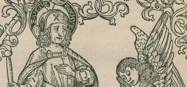 Detail of a woodcut featuring St Roch and an angel.