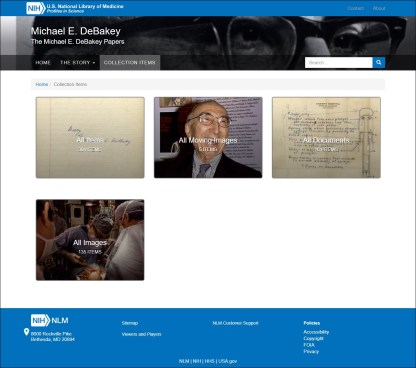 Select groups of DeBakey Collection Items to browse.