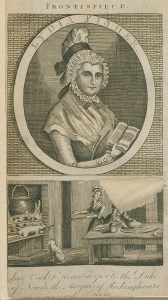 Woodcut portrait of a woman hoding a book above an illustration of two women working in a kitchen with an open hearth.