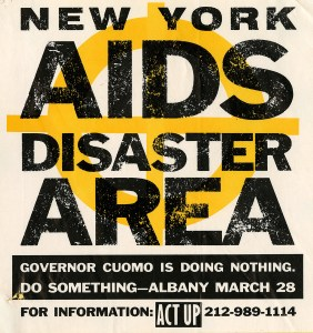 Two color sticker declaring New York an AIDS disaster area, featuring the title in black letters superimposed on a yellow symbol, presumably signifying a disaster