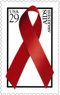 Postcard featuring a color illustration of a red awareness ribbon in a vertical, white postage stamp