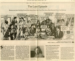 "Newspaper article from the New York Times, Sunday, May 7, 1995 issue written by Andrea Kannapell about the comic strip ""Decision"" that ran in New York City subways in the 1990s"