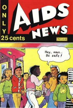 "Cover of the comic book ""AIDS news,"" an AIDS education tool written in English"