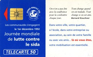 Calling card made as part of the World AIDS Day by the French Agency to fight against AIDS