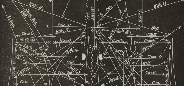 Detail of chart showing pains charted with lines, icons, and names of drugs.