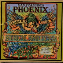 A colorful label for a Californian medical marijuana product.