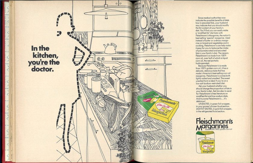 "A two page spread advertisment for margerine reads ""In the kitchen you're the doctor."""