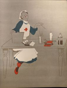 Colored line drawing of a nurse painting at a table with a bottle of nerve tonic, some books and a candle.