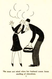 A drawing shows a smelly man with a doctor's bag kissing an unhappy woman on the cheek.