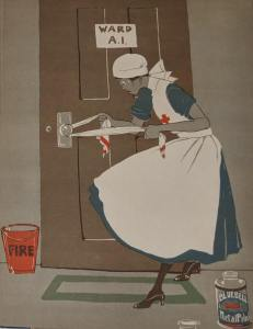 A nurse works hard polishing a doornob with a rag.