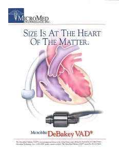 MicroMed DeBakey VAD Brochure cover with medical illustration.