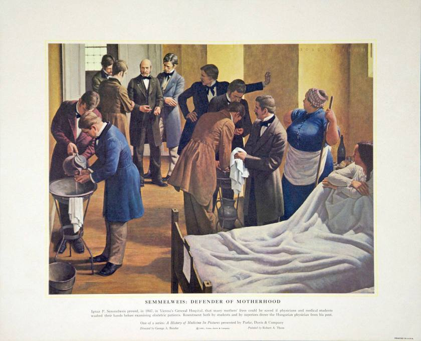 Artwork showing physicians and medical students washing their hands before examining obstetric patients.