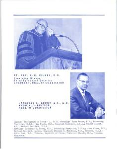 A two color program with a photograph of Berry as Medical Director.