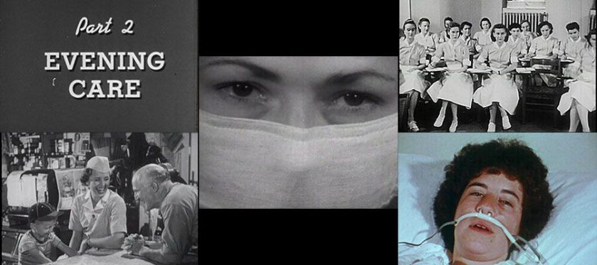 A collage of images from films about nursing.