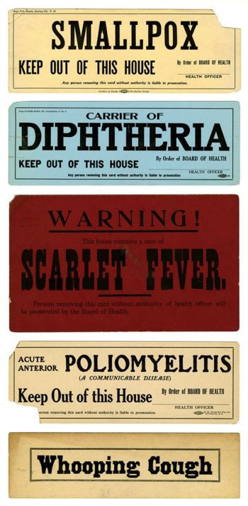 A group of 5 signs warning of contamination by a viriety of infectious diseases.