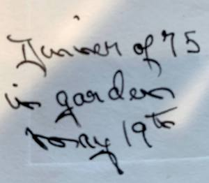 Handwrittern note of a date.
