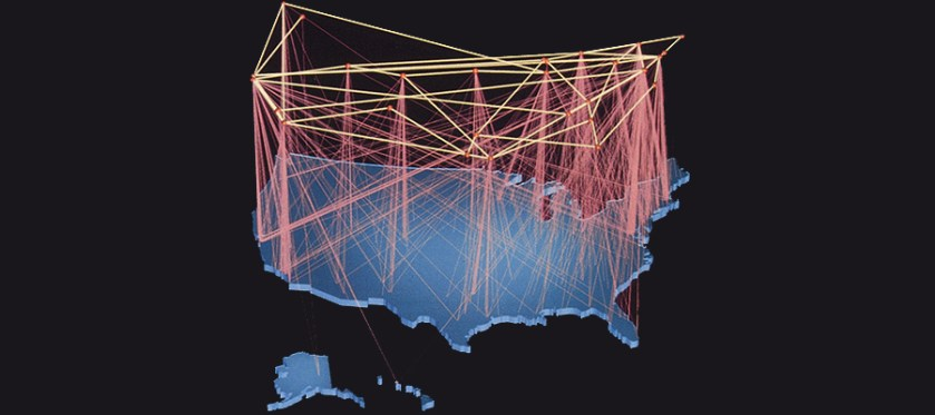 Map of U.S. with multiple connections spread nationwide.